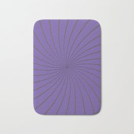 3D Purple and Gray Thin Striped Circle Pinwheel Digital Illustration - Artwork Bath Mat
