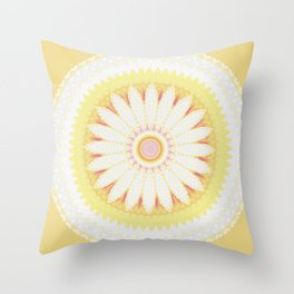 Sunshine Yellow Flower Mandala Abstract Throw Pillow