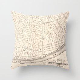 Vintage Map of New Brunswick NJ (1837) Throw Pillow