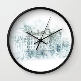 Watercolor Castle Blue Wall Clock