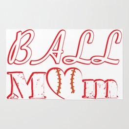 Ball Mom Love Softball Baseball Mother's Day Gifts Rug