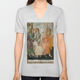 """Sandro Botticelli """"Venus and the Three Graces Presenting Gifts to a Young Woman"""" Unisex V-Neck"""
