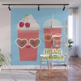 Hello Summer Kawaii cherry smoothie Wall Mural