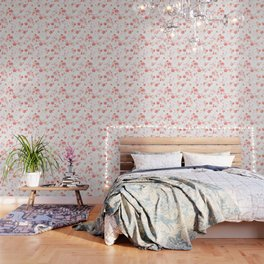 Peach pink Chinese cherry blossom on white Wallpaper