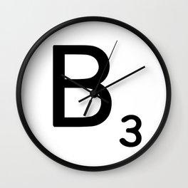 Letter B - Custom Scrabble Letter Wall Art - Scrabble B Wall Clock