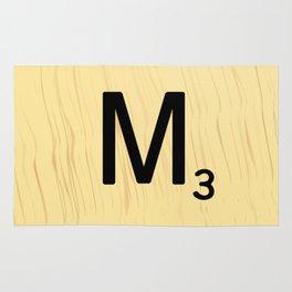 Scrabble M Decor, Scrabble Art, Large Scrabble Tile Initials Rug