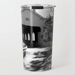 Covered Bridge in Black and White Travel Mug