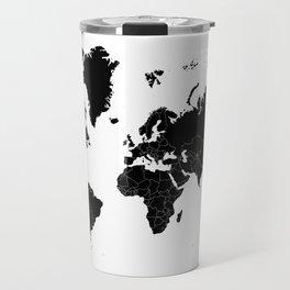 Minimalist World Map Black on White Background Travel Mug