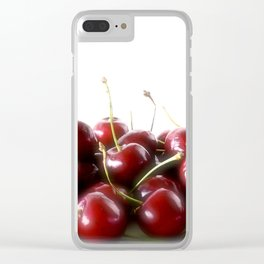 Red Cherries White Background Clear iPhone Case