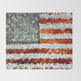 American Flag Abstract Throw Blanket