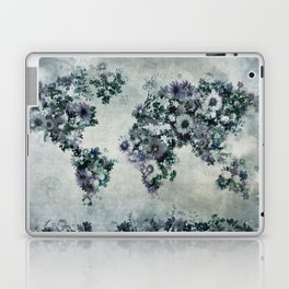 world map floral black and white Laptop & iPad Skin