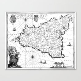 Vintage Map of Sicily Italy (1600s) BW Canvas Print