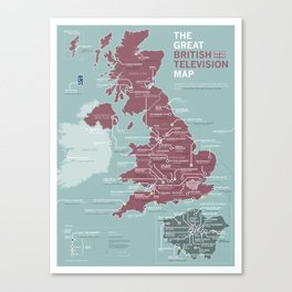 The Great British Television Map Canvas Print