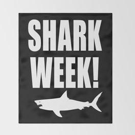 Shark Week, white text on black Throw Blanket
