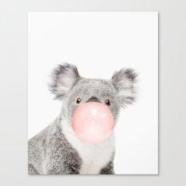 Koala, Bubble gum, Pink, Animal, Nursery, Minimal, Trendy decor, Interior, Wall art Canvas Print
