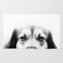 Dog portrait in black & white Rug