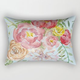 Bouquet of Watercolor on Blue Background Rectangular Pillow