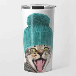 Cat with hat illustration Travel Mug