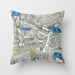 Illustrated map of Berlin-Mitte. Green Throw Pillow