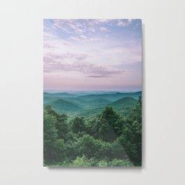 Pink Sunset over the Blue Ridge Mountains Metal Print