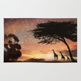 Purple Safari Sunset- giraffe family Rug