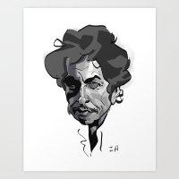 bob dylan Art Prints featuring BOB DYLAN! by nachodraws