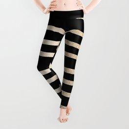 Simply Drawn Stripes White Gold Sands on Midnight Black Leggings