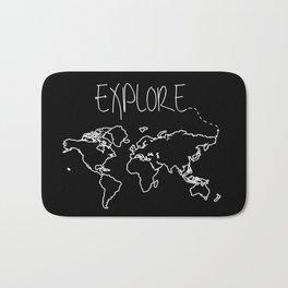 Explore World Map Bath Mat