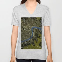 06-New Orleans Louisiana 1932, old colorful map Unisex V-Neck
