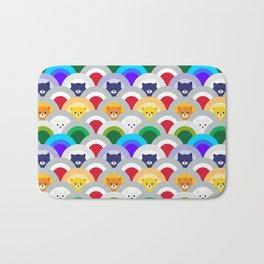 Japanese Wave Pattern cat Rainbow Bath Mat