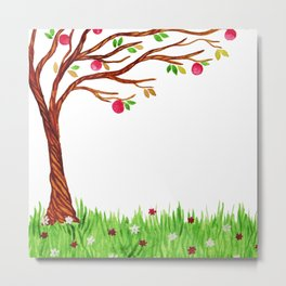 Watercolot tree with apples Metal Print
