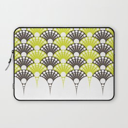 brown and lime art deco inspired fan pattern Laptop Sleeve