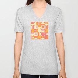 Thoroughly Modern Pink And Orange Geometric Design Unisex V-Neck