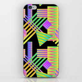 Neon Ombre 90's Striped Shapes iPhone Skin