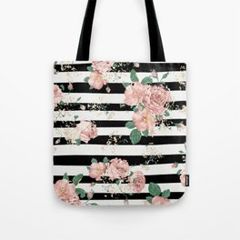 VINTAGE FLORAL ROSES BLACK AND WHITE STRIPES Tote Bag