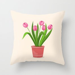 pink tulips in the pot Throw Pillow