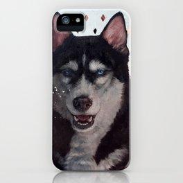 Siberia [ oil on mirror ] Husky dog portrait iPhone Case