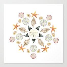 Florida Beachcombing Mandala 1 - Watercolor Canvas Print