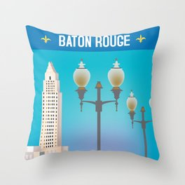 Baton Rouge, Louisiana - Skyline Illustration by Loose Petals Throw Pillow
