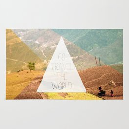 Go travel the world - rice field and geometric typography art Rug