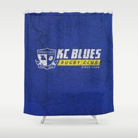 rugby Shower Curtains featuring Kansas City Blues Rugby  KCB by Kansas City Blues Rugby