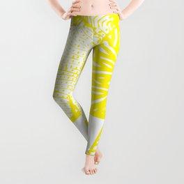 Free Hand Zesty Lemon Doodle Design Leggings