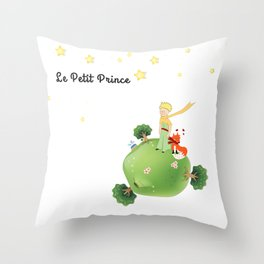 The Little Prince, with the fox and planet Throw Pillow