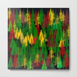 autumn fir forest Metal Print