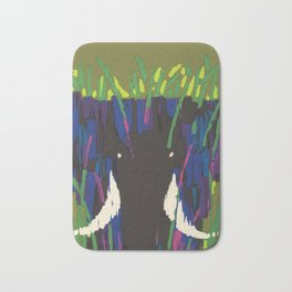 Air Afrique Mid Century Modern Colorful Elephant Savanna Bath Mat