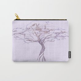 Quiet Acacia Zen Tree , Earthy African Bonsai Peace Lavendar Purple Carry-All Pouch
