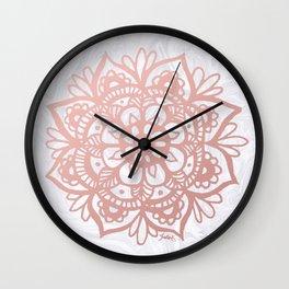 Rose Gold Mandalas on Marble Wall Clock