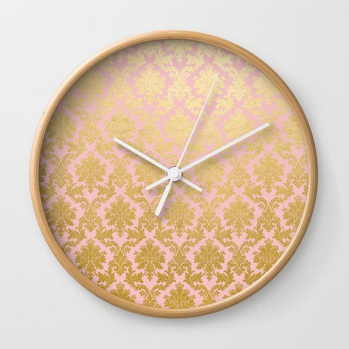Princess Like Luxury Pink Gold Ornamental Damask Pattern Wall