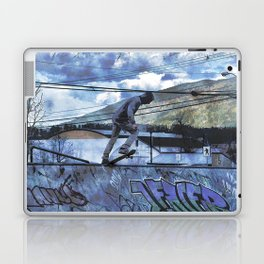 Tipping Point -Skateboarder Launching - Outdoor Sports Laptop & iPad Skin