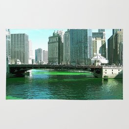 Chicago River on St. Patrick's Day #Chicago Rug